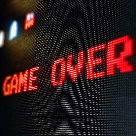 8 bit text red game over sign