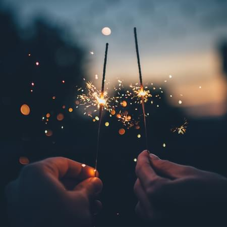 dusk image with sparklers