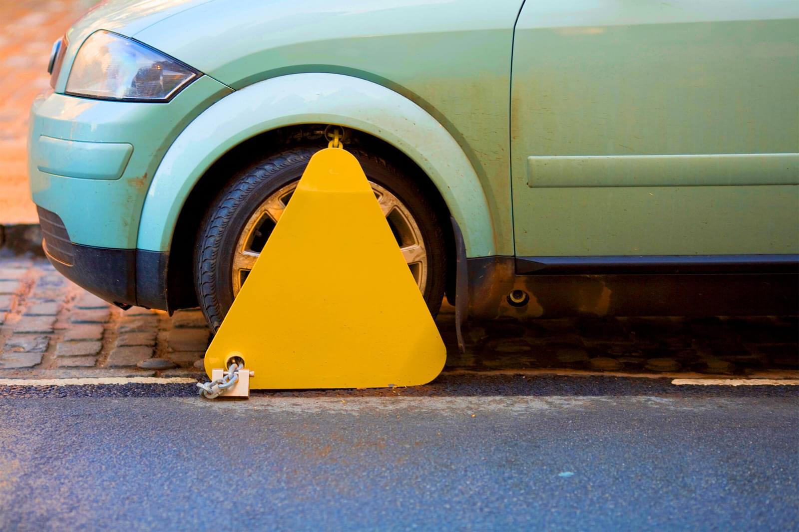 Clamped car.
