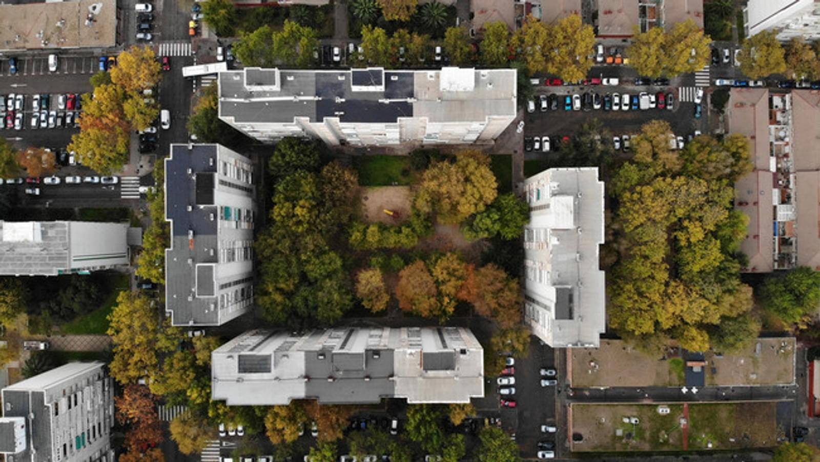 birds eye view of a hospital building