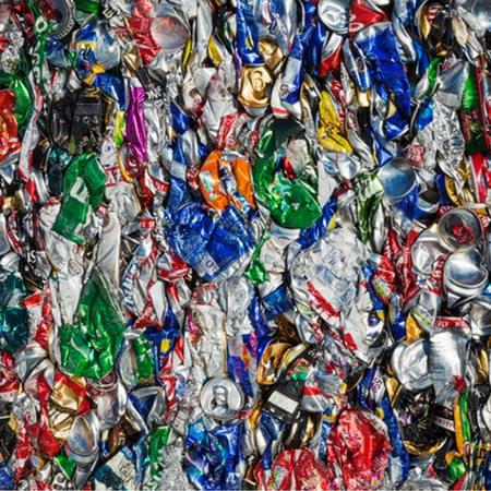 Flattened plastic bottles abstract image