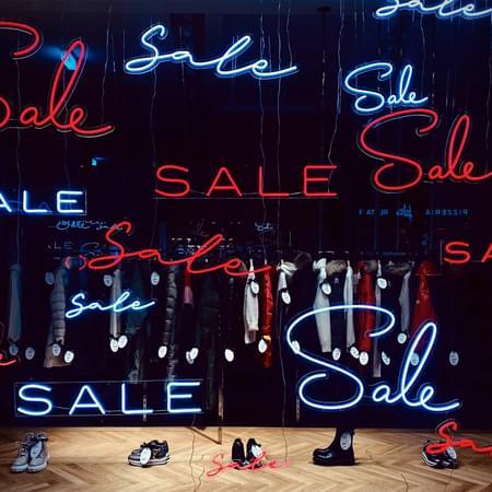 Shop sale signs.