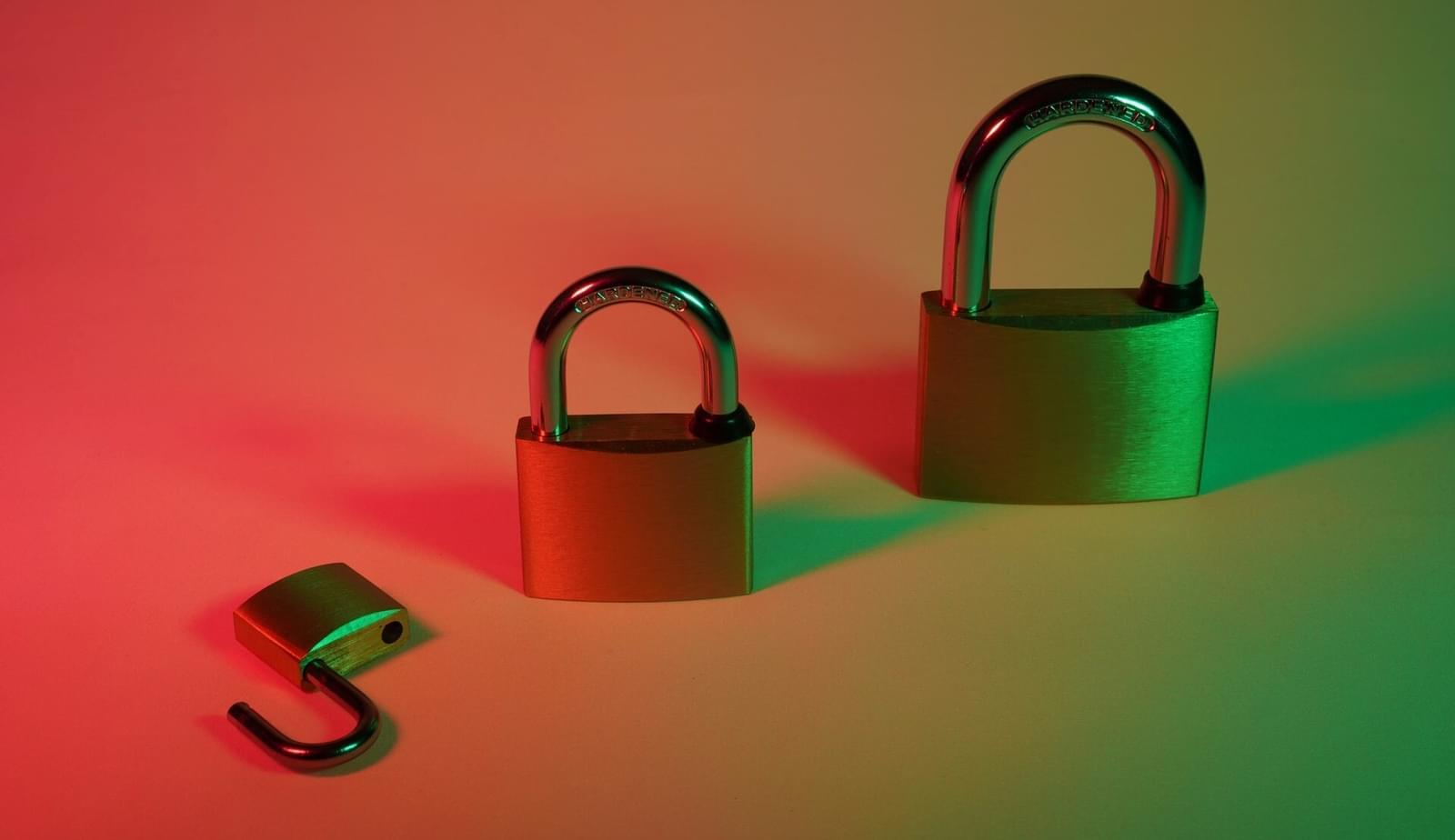 three padlocks on background